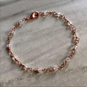 Moonstone Rose Gold Rosary Bracelet